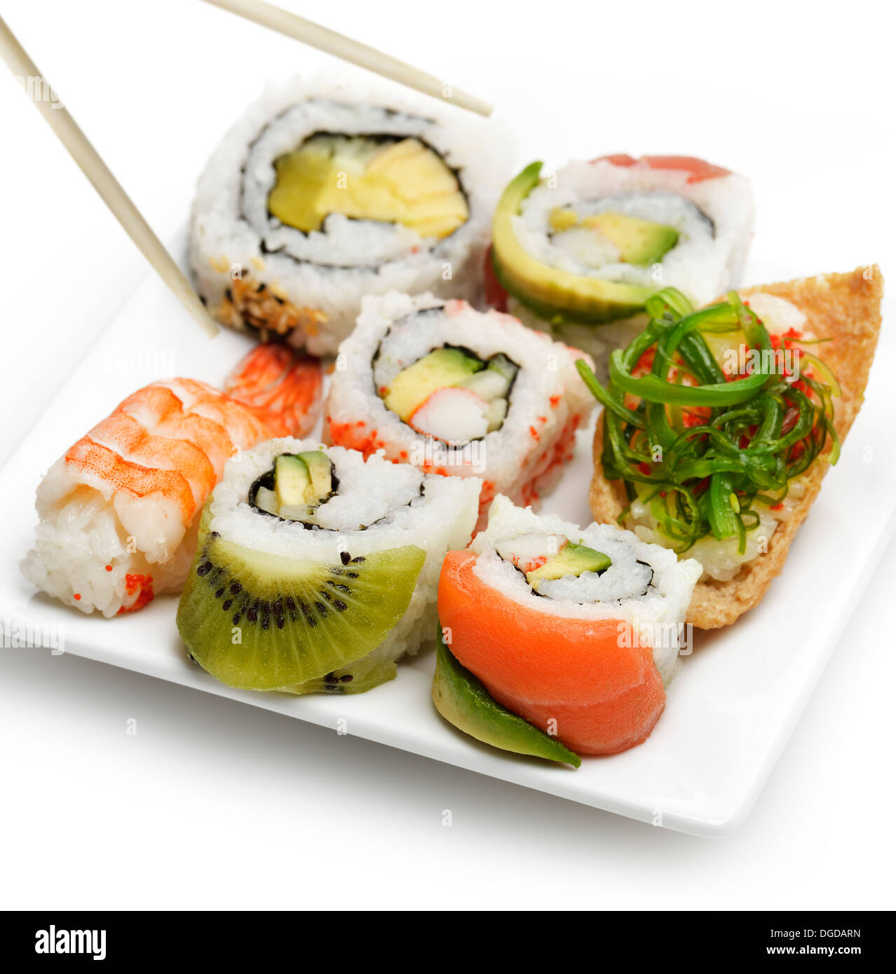 Sushi Assortment On White Dish - Stock Image