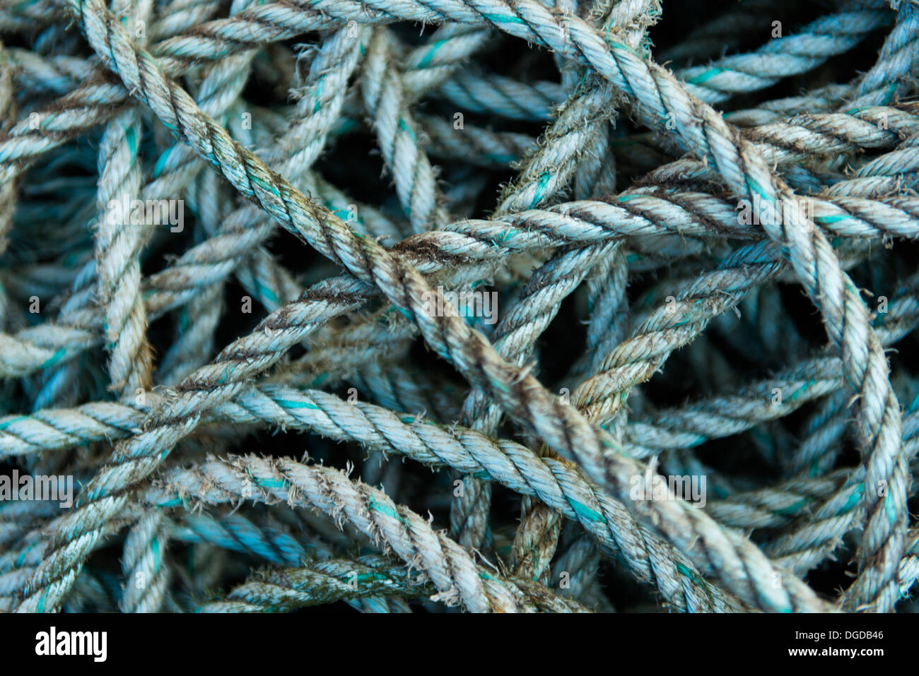 Blue nylon rope used on fishing and other boats - Stock Image