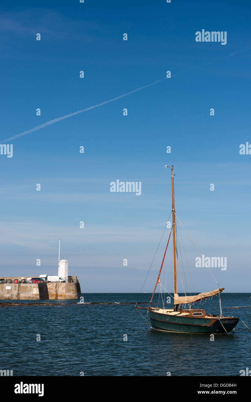 A boat in Seahouses harbour, Northumberland, England. - Stock Image