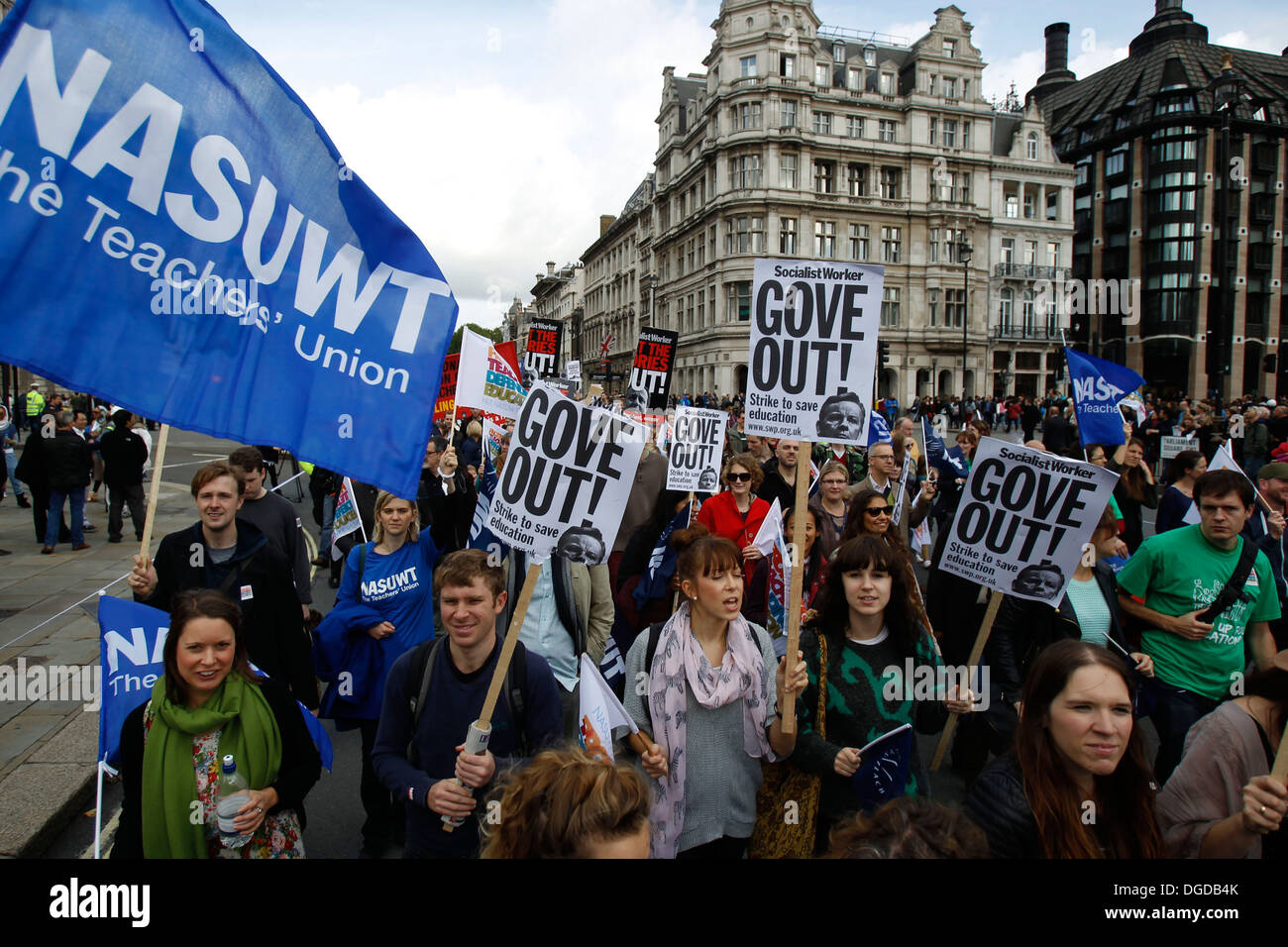 Teachers rally in central London Britain 17 October 2013. - Stock Image
