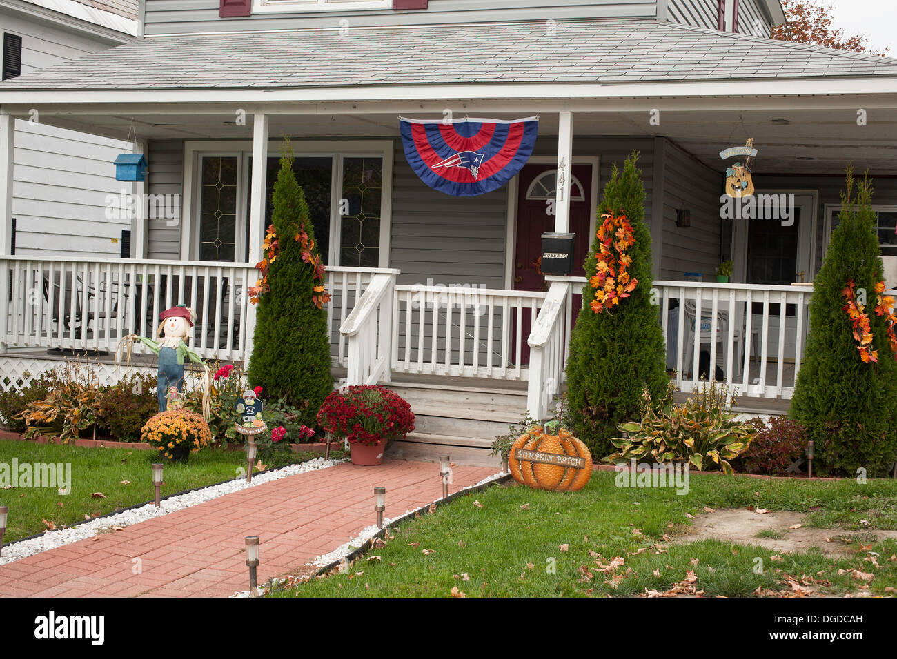 Halloween And Thanksgiving Decorations At A New England Home