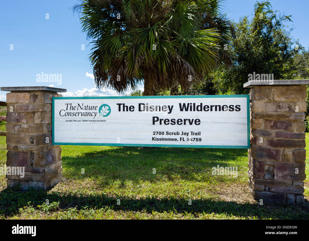 Entrance to the Nature Conservancy Disney Wilderness Preserve, Poinciana, Kissimmee, near Orlando, Central Florida, - Stock Image