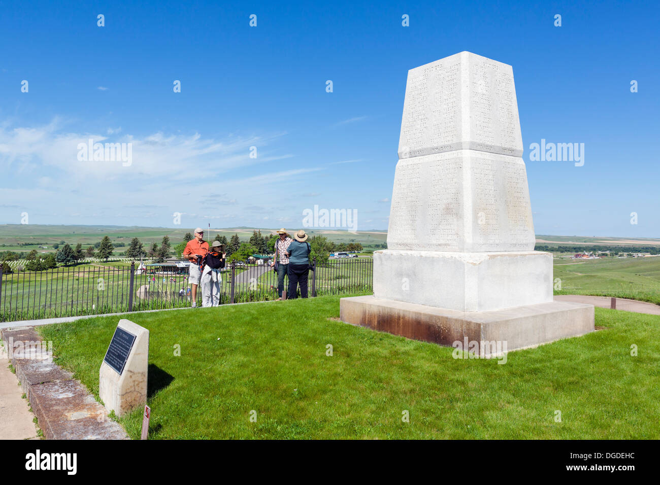 Tourists at the US Army 7th Cavalry Memorial on Last Stand Hill, Little Bighorn Battlefield National Monument, Montana, Stock Photo