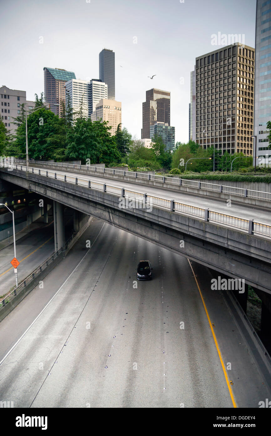 A maze of viaducts and overpasses make sure traffic flows around Seattle, Washington - Stock Image