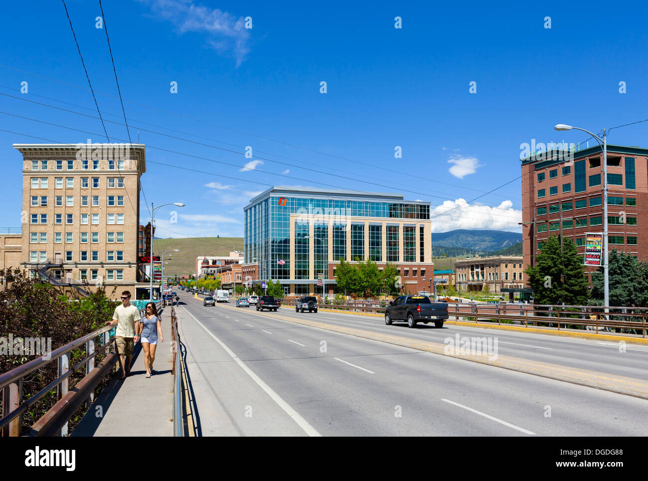 South Higgins Avenue bridge over the Clark Fork River in historic downtown Missoula, Montana, USA - Stock Image