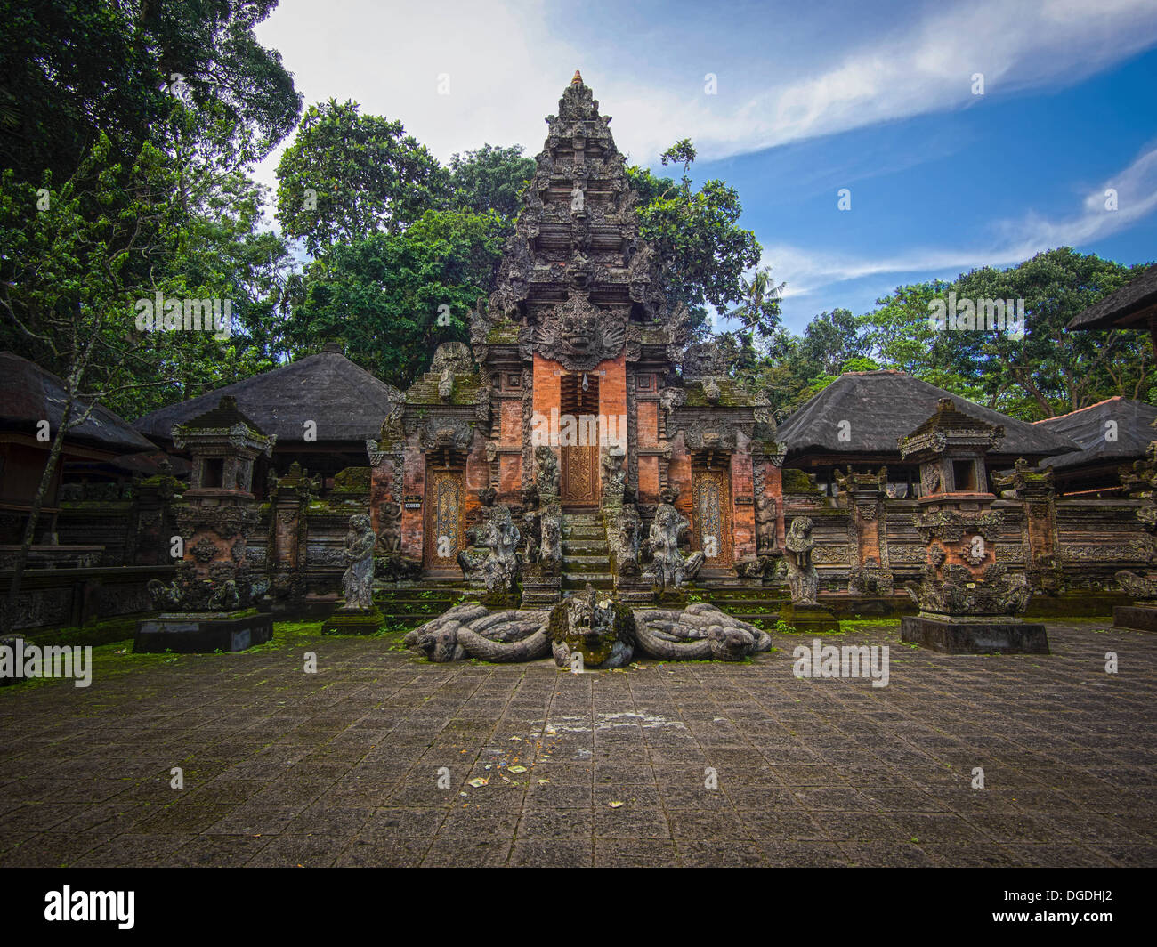 The Padangtegal temple in the Monkey Forest Sanctuary in Ubud, Bali, Indonesia. - Stock Image