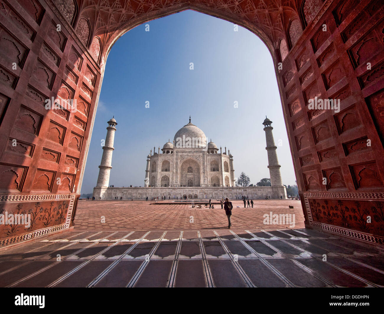 The Taj Mahal seen from mosque west of the mausoleum. - Stock Image