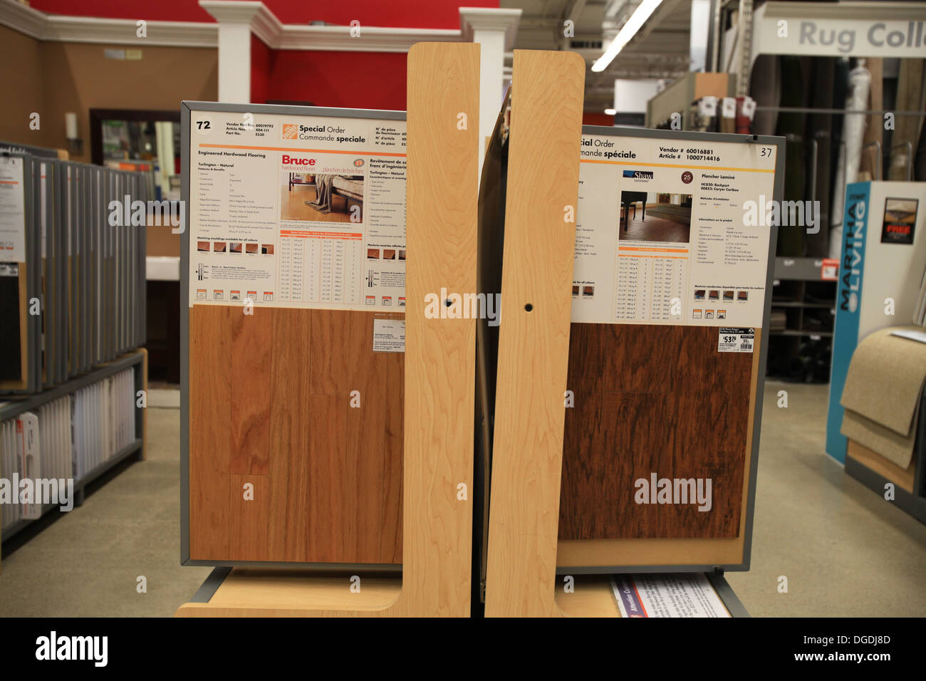 Hardwood and laminate flooring samples on display in The Home