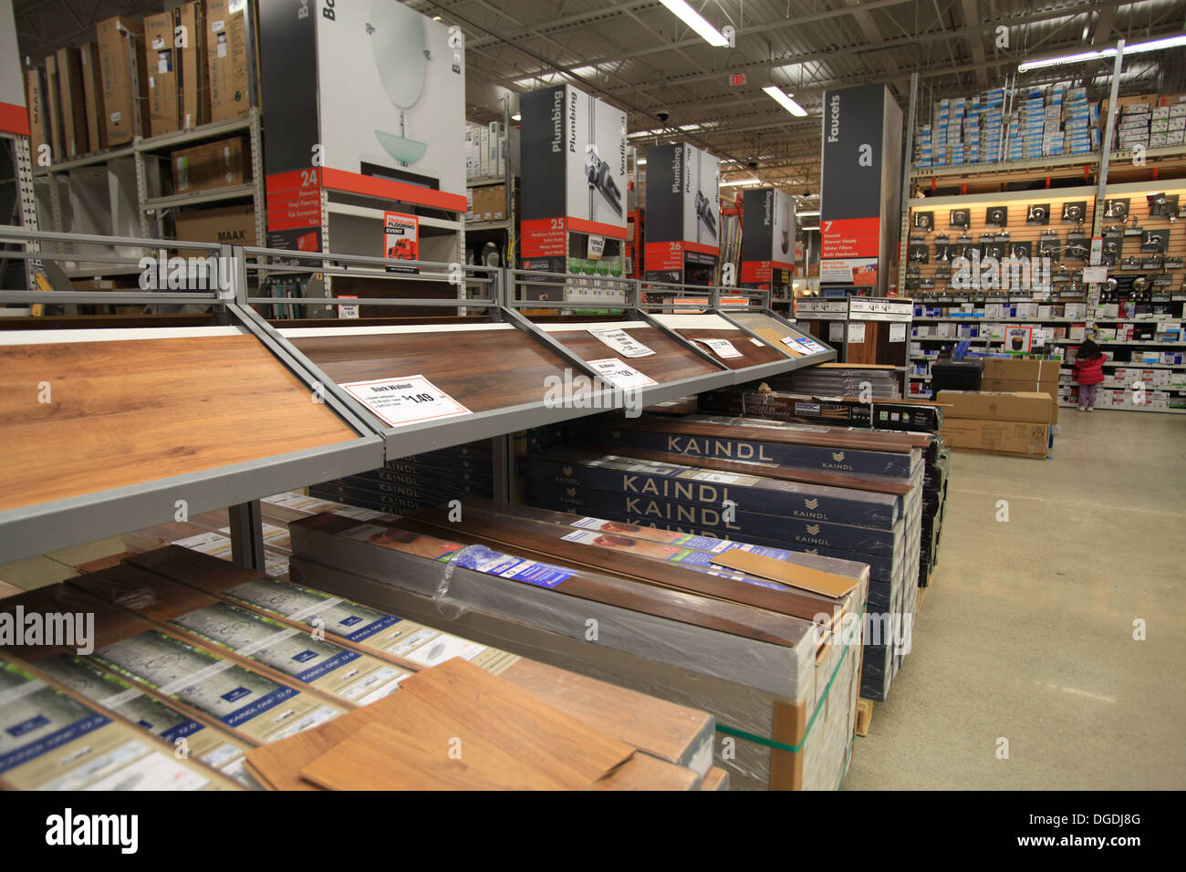 Hardwood and laminate flooring samples on display in The Home Depot ...