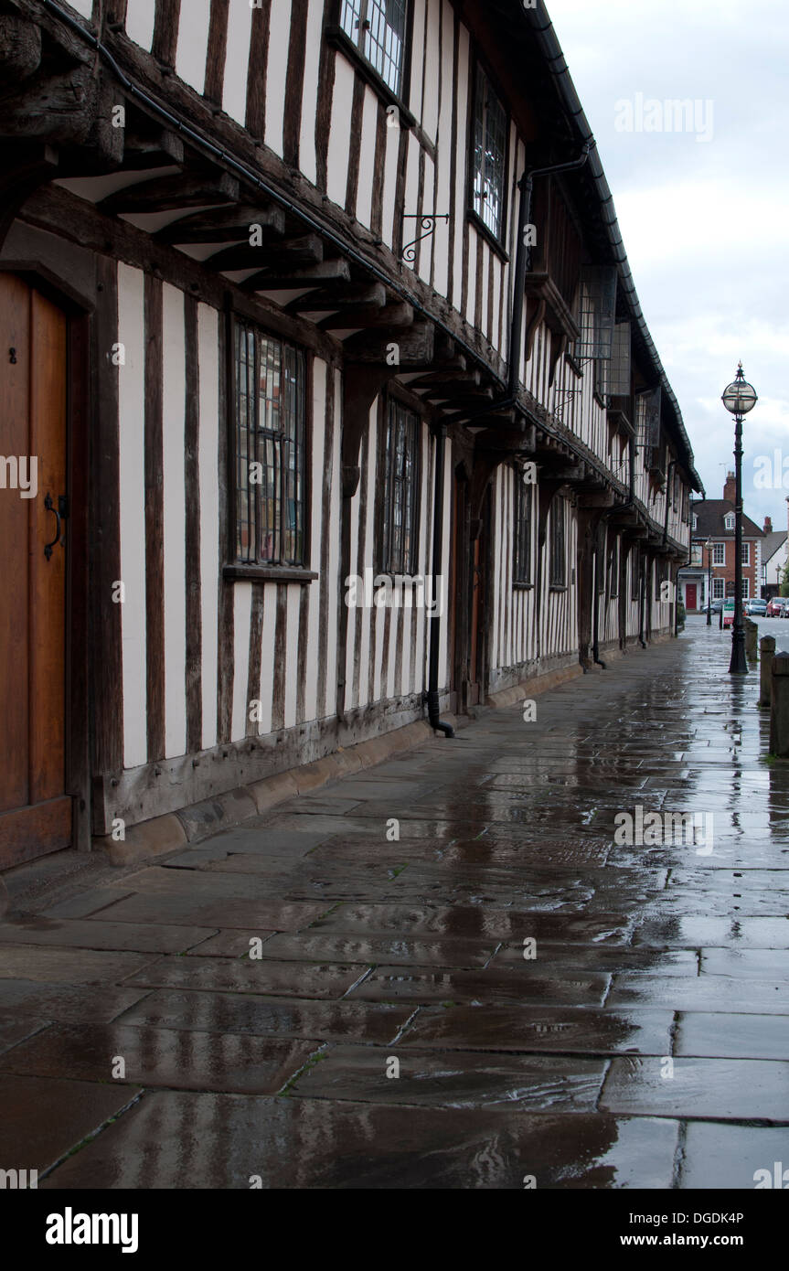 Church Street in wet weather, Stratford-upon-Avon, UK - Stock Image