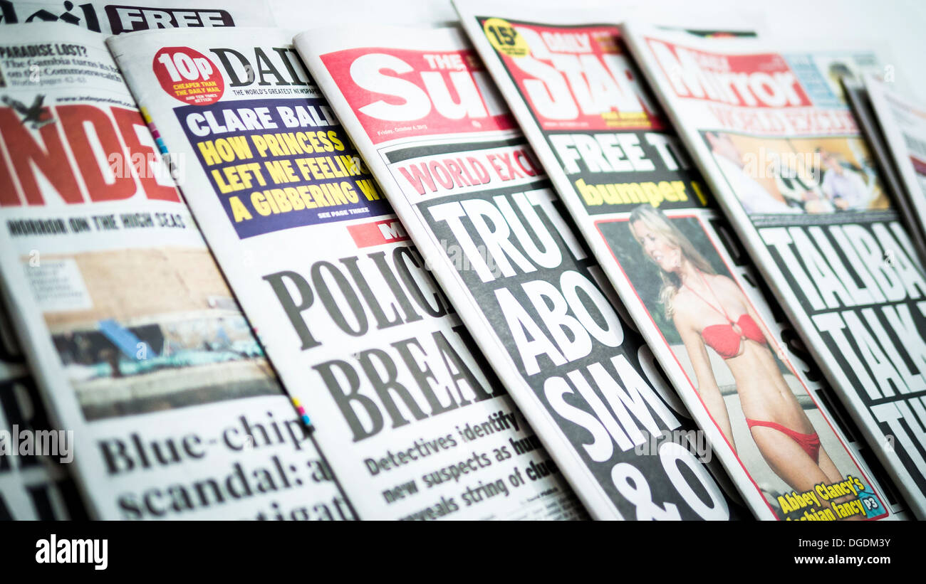 British Newspapers showing front pages - Stock Image