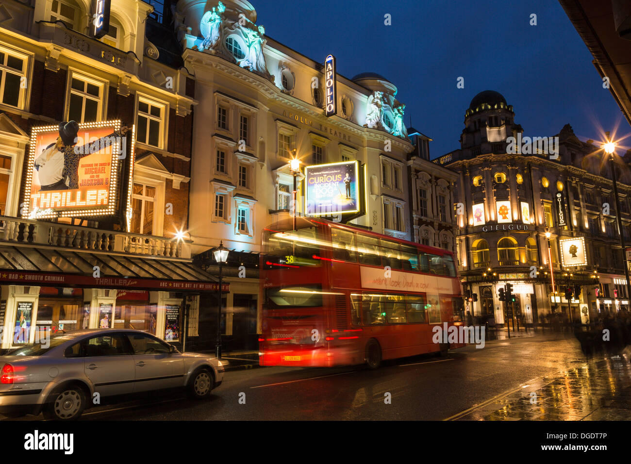 Shaftesbury Avenue West End theatres at night London - Stock Image