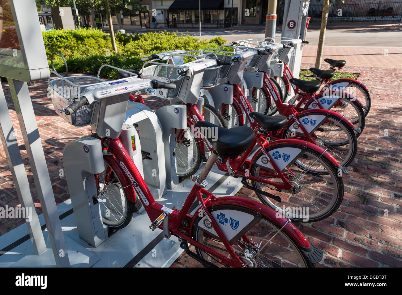 B cycles at Market Square B station Houston Texas - Stock Image