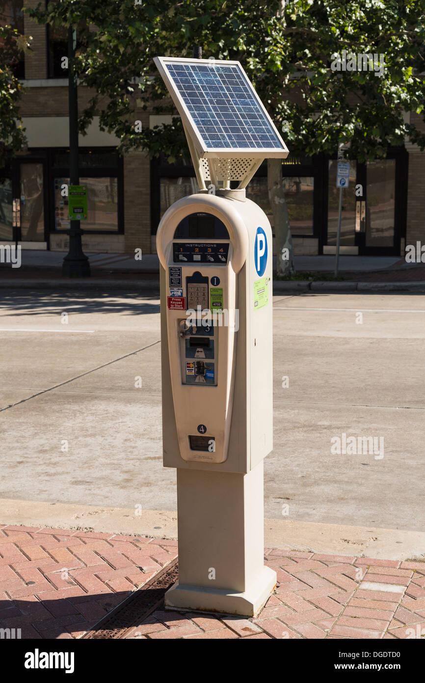 Solar powered parking meter - Stock Image