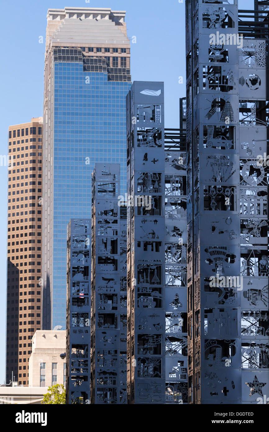 Stainless steel Seven Wonders Sesquicentennial Park Houston Texas - Stock Image