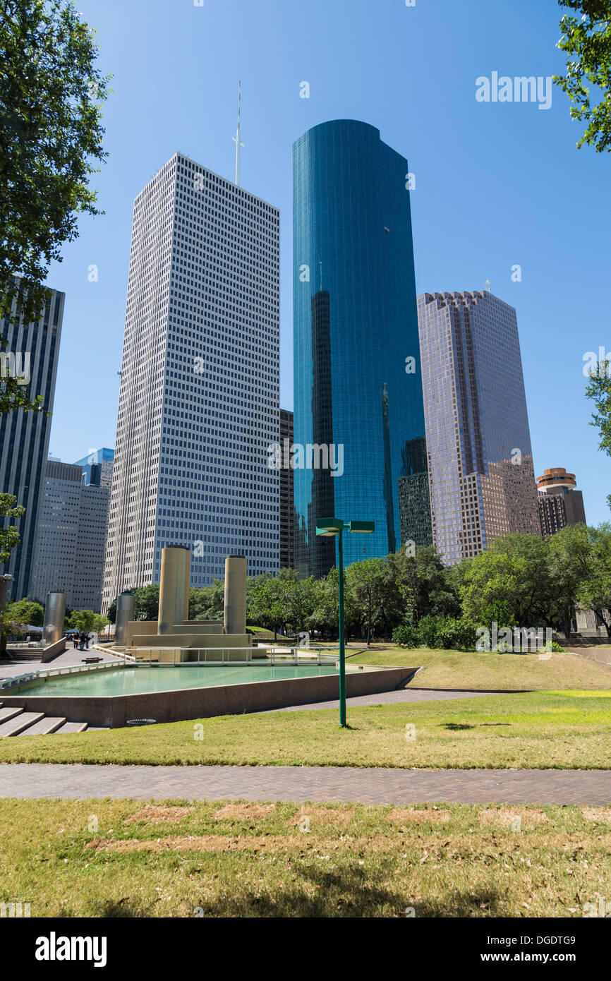 Houston skyline and Tranquillity Park on a sunny day with blue sky - Stock Image