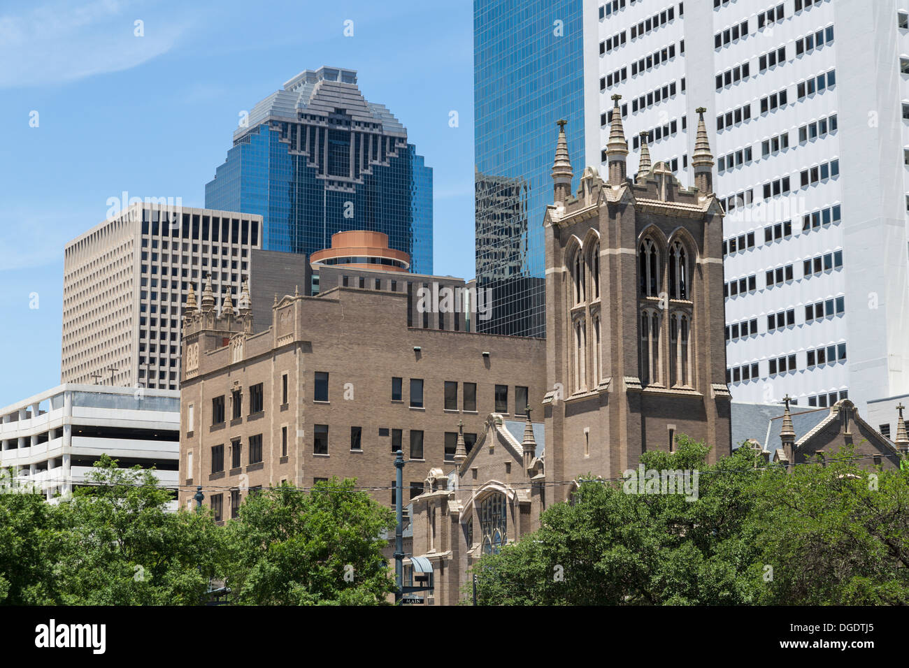 First United Methodist Church Main Street Houston Texas Stock Photo
