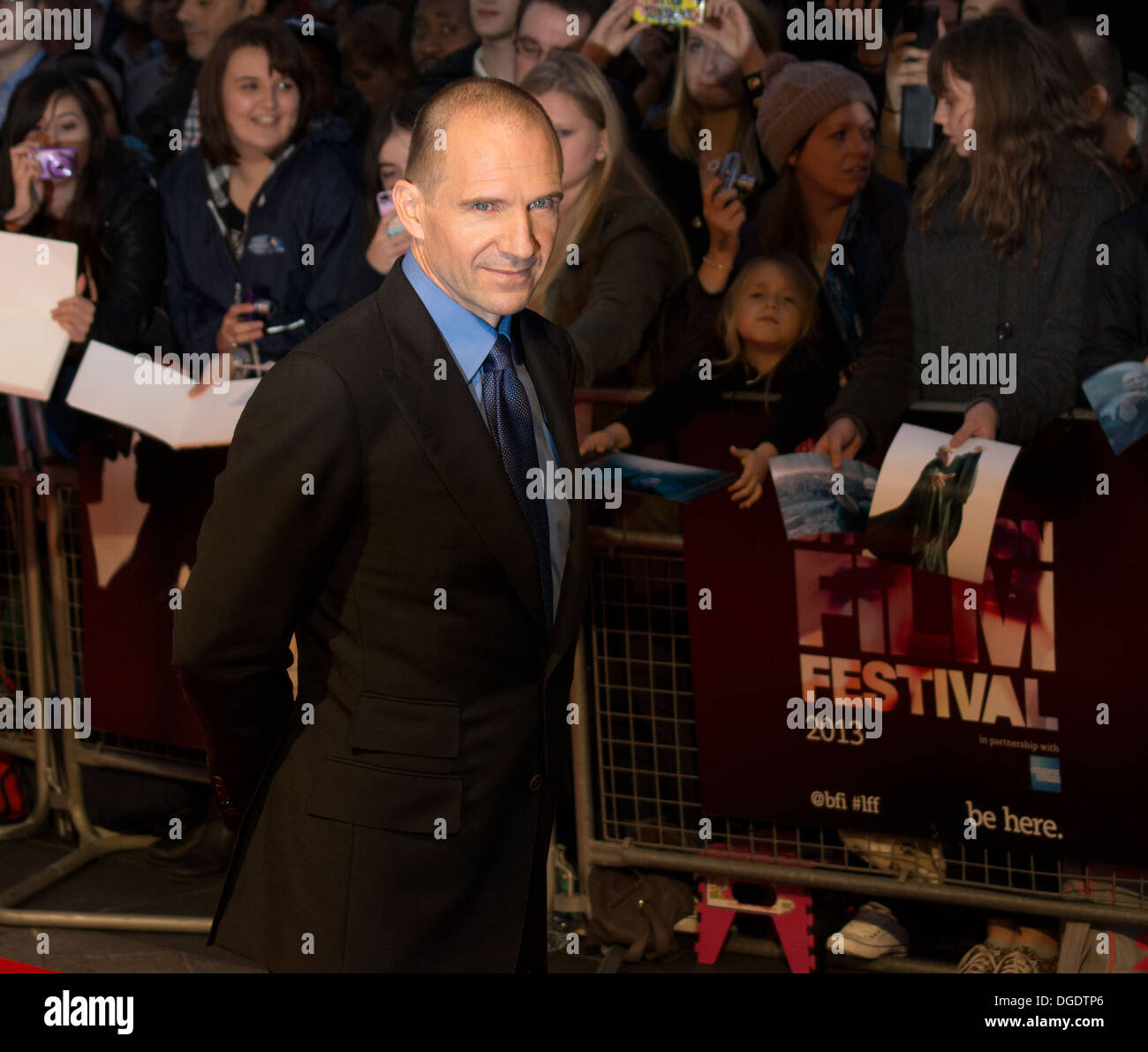 Actor Ralph Fiennes attending premiere of The Invisible Woman at London Film Festival - Stock Image