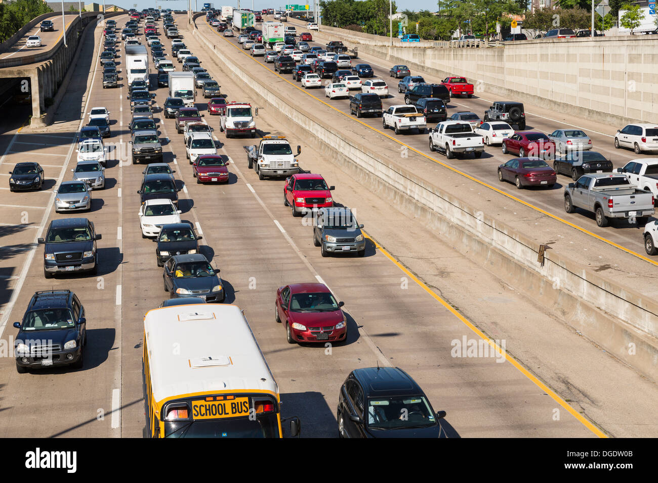 Heavy traffic on Central Expressway Freeway 45 highway Dallas Texas USA - Stock Image