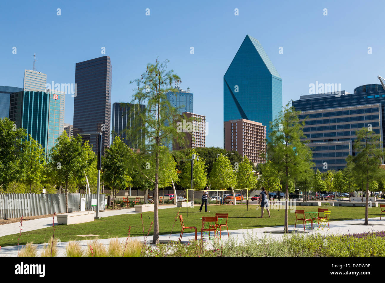Dallas Skyline from Klyde Warren Park Arts District Texas USA - Stock Image