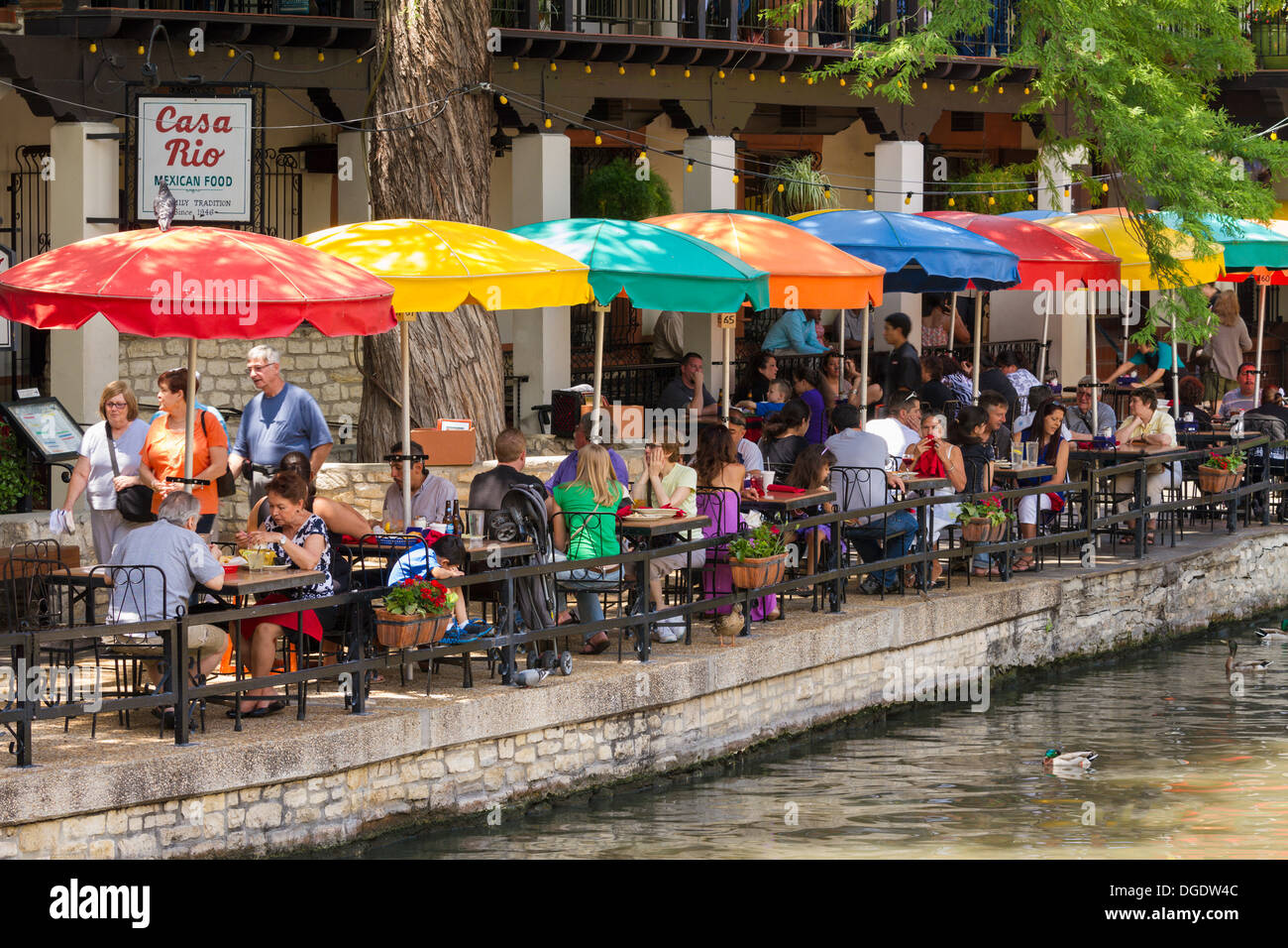Tourists At Cafes And Restaurants Along The San Antonio