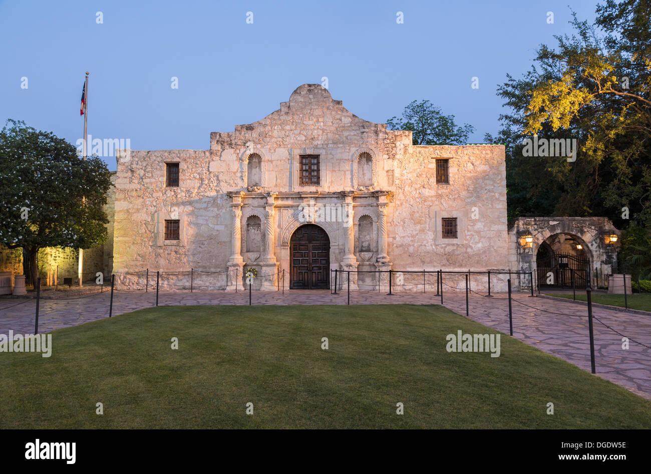 The Alamo at dusk San Antonio Texas USA - Stock Image