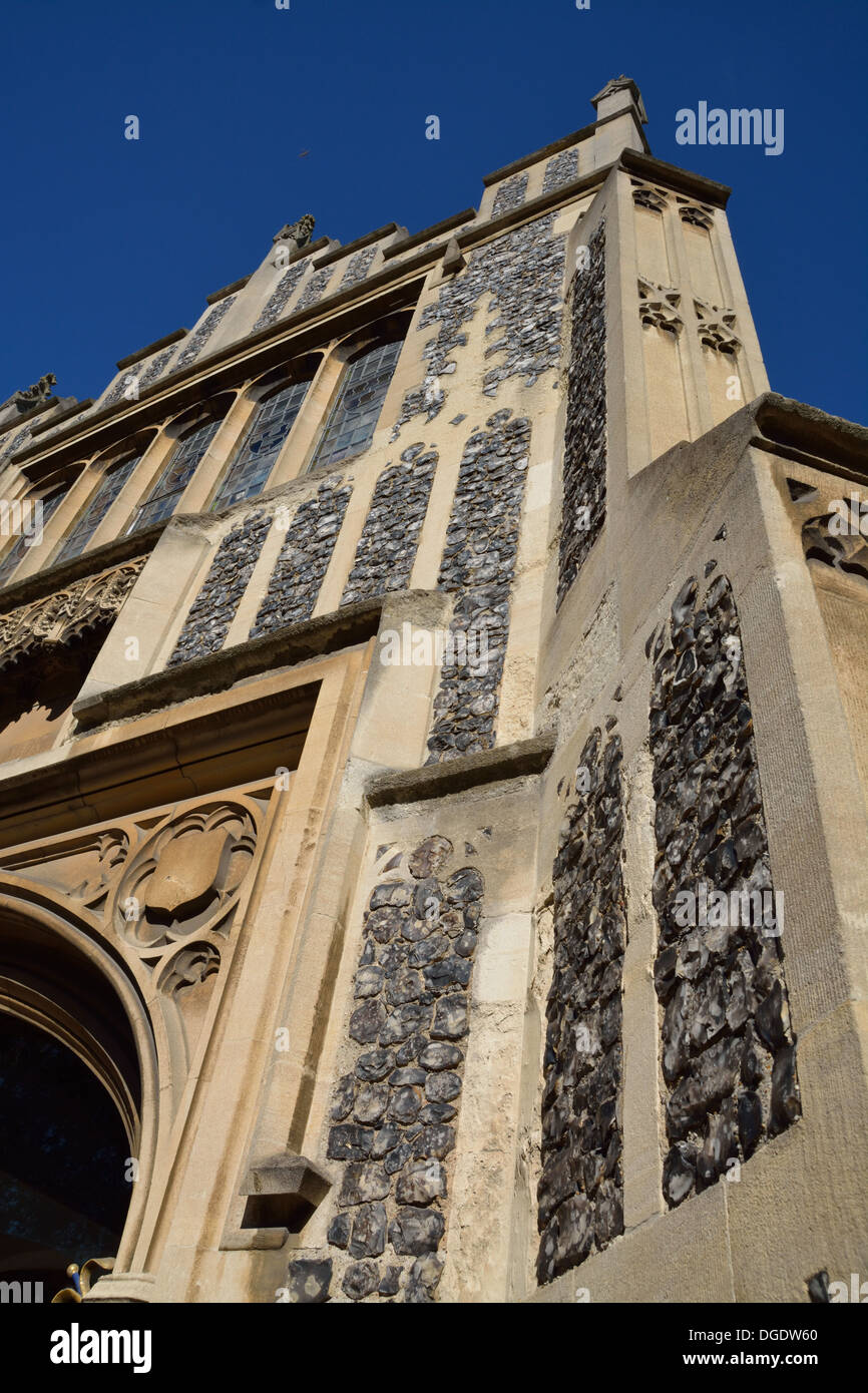 2 storeyed South porch entrance faced with stone and flint inlay known as 'flushwork'.  Chelmsford Cathedral, Essex. - Stock Image