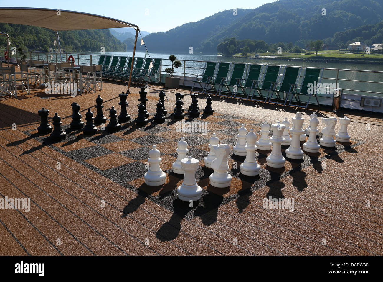 Giant chess set on a river cruise ship - Stock Image