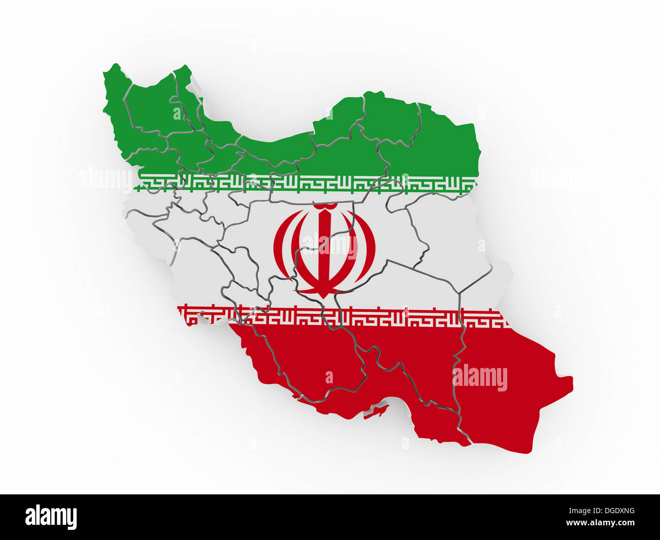 Map of Iran in Iranian flag colors. 3d Stock Photo: 61771964 - Alamy