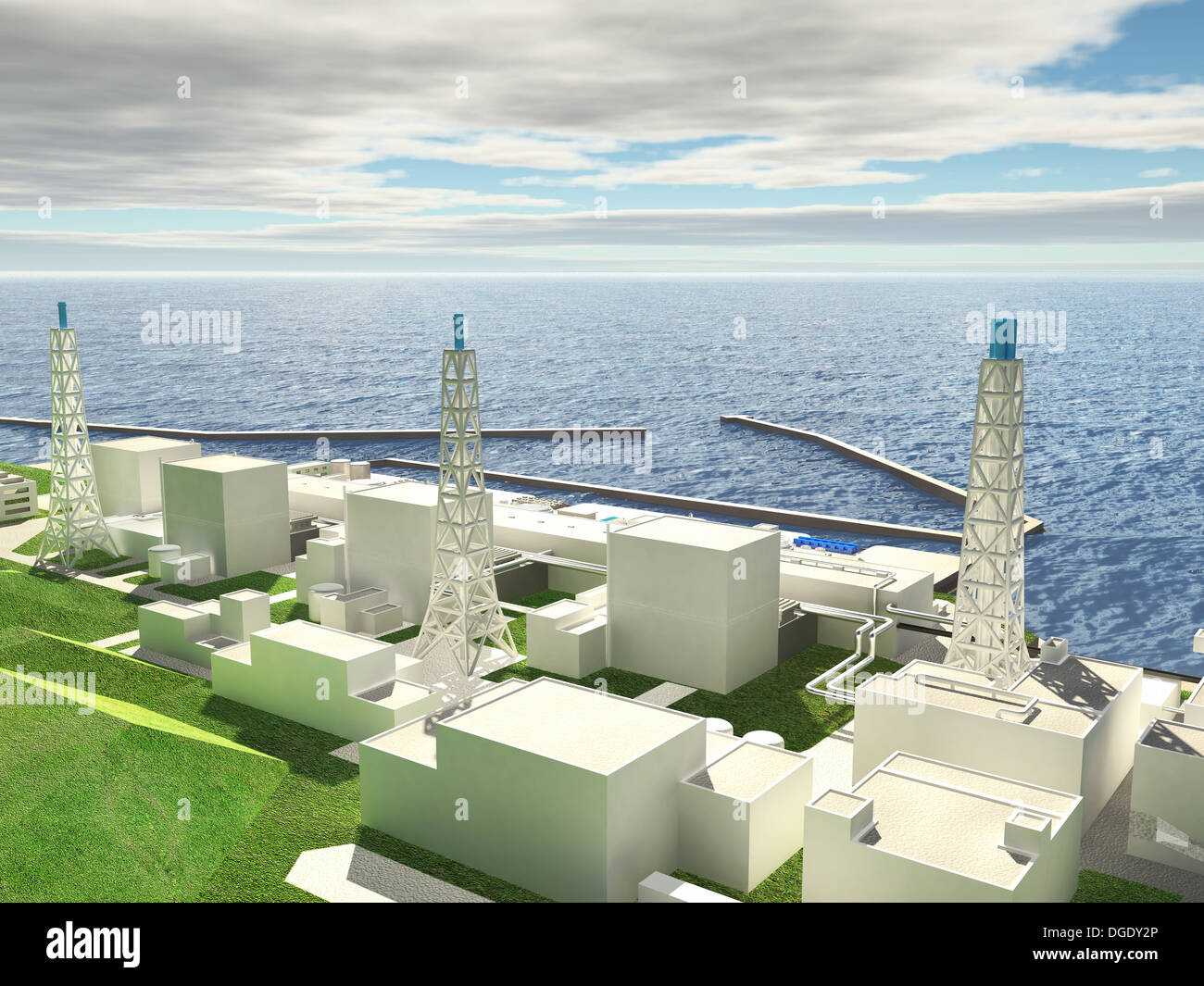 Three-dimensional layout of Fukushima nuclear plant. 3d - Stock Image