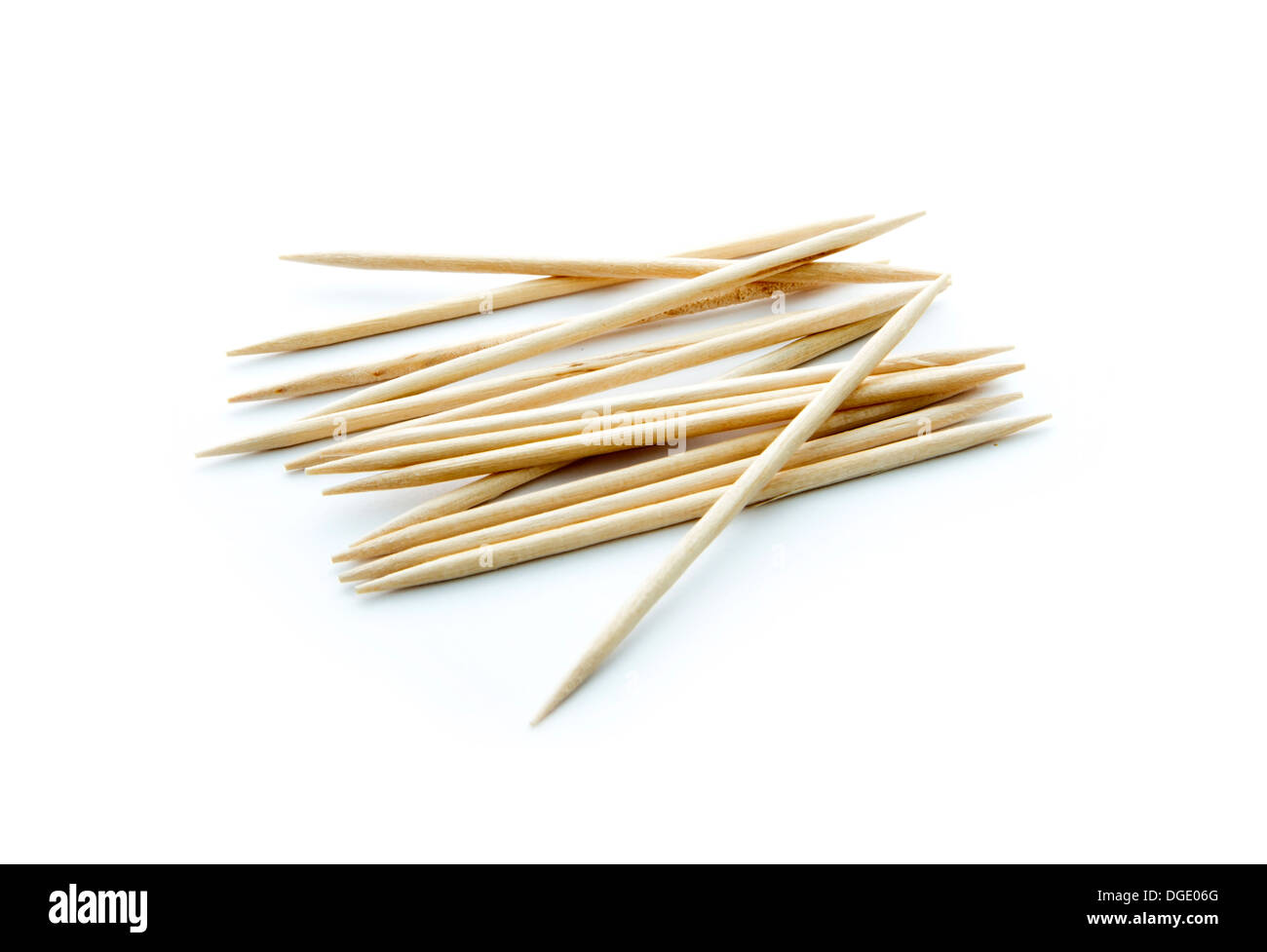 group of toothpicks isolated on white background - Stock Image