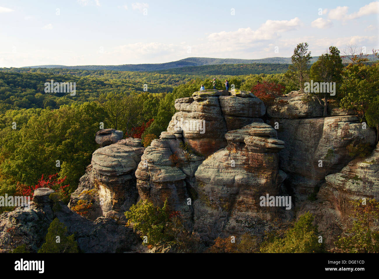 Garden Of The Gods Recreation Area Southern Illinois Hikers On Top Stock Photo 61774061 Alamy