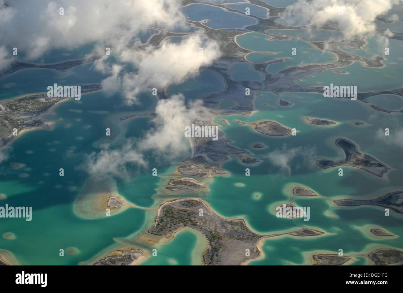 Aerial view of hypersaline lakes in Christmas Island (Kiritimati), Kiribati - Stock Image