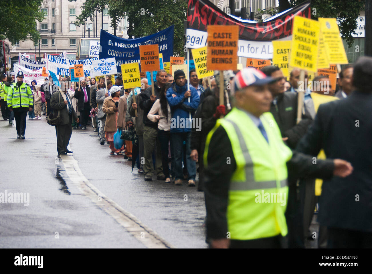 London, UK. 19th October 2013. Caste Watch UK demonstrates against the Indian caste system that denies equal opportunities for all. Credit:  Paul Davey/Alamy Live News - Stock Image