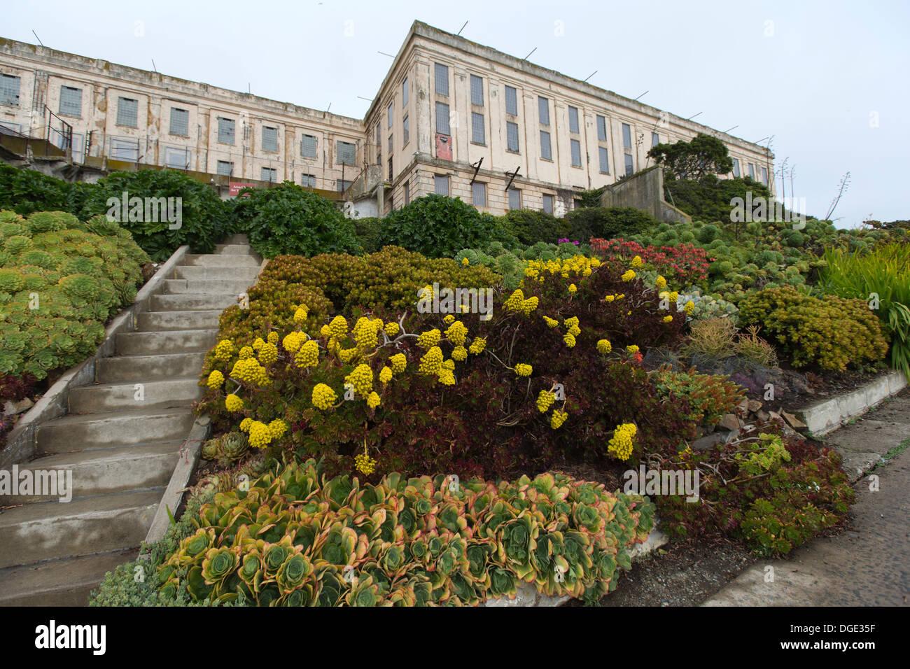 Main Cellhouse, Alcatraz Island, San Francisco Bay, California, USA - Stock Image