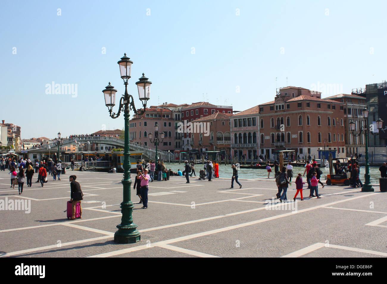 Lamp, buildings and bridge Venice, Italy Stock Photo