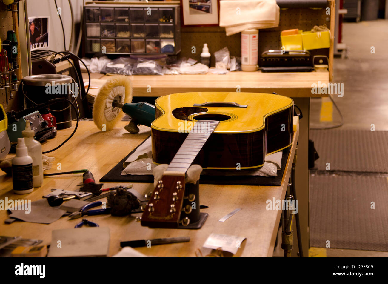 Martin guitar being polished in Martin guitars factory in