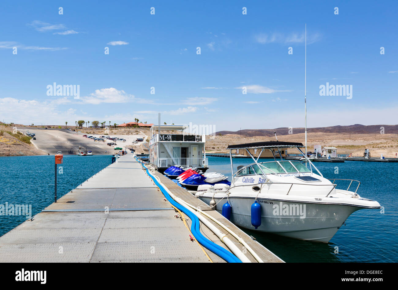 Callville Bay Resort and Marina looking towards restaurant on hill, which used to be right on waterfront, Lake Mead, Stock Photo
