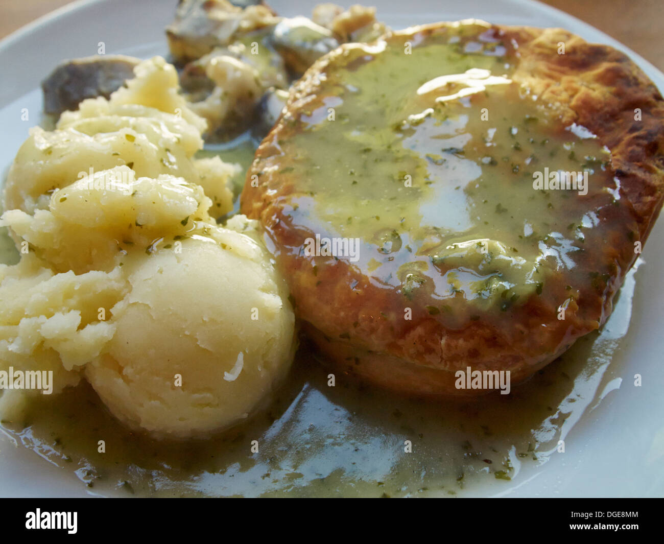 Pie, eel and mash, a classic London meal - Stock Image