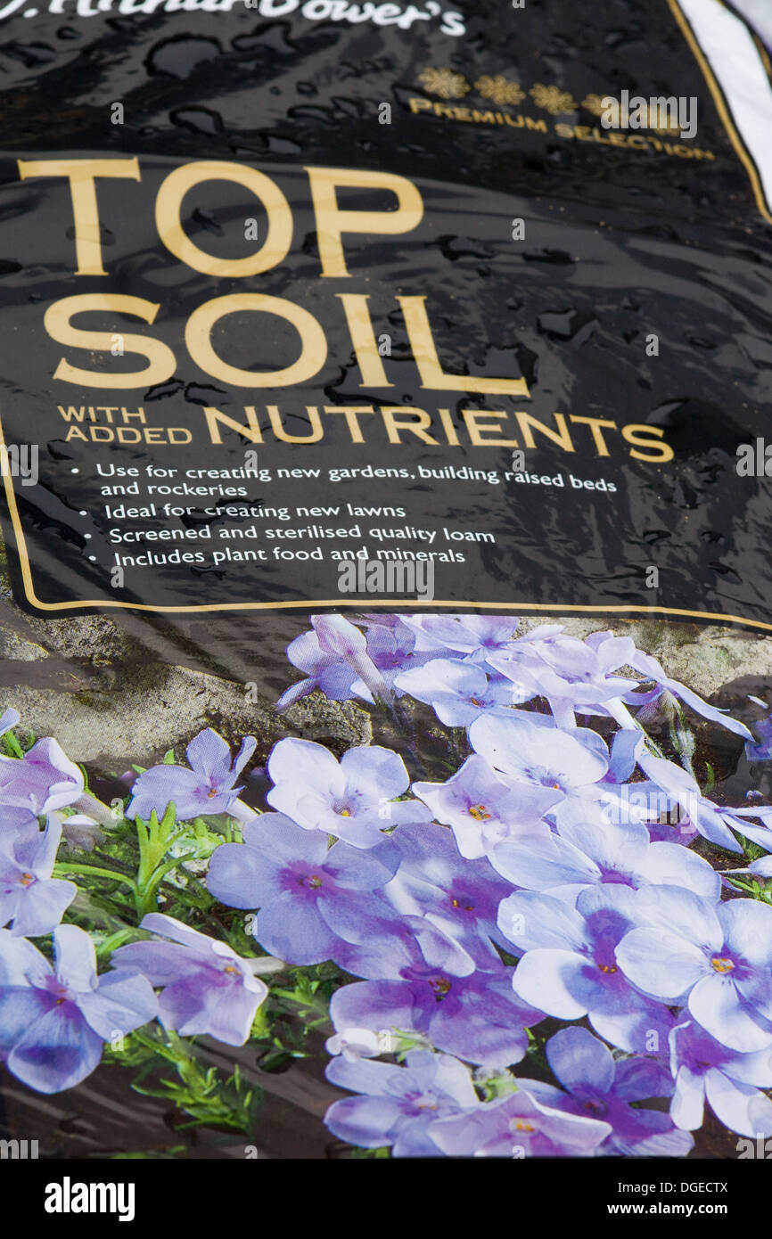 A Bag of Top Soil with Added Nutrients - Stock Image