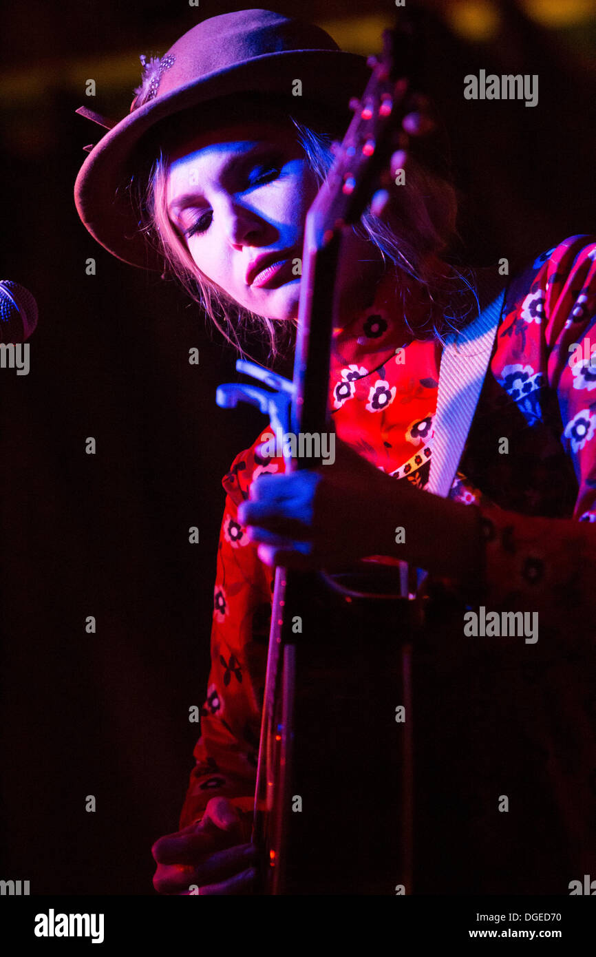 Milan Italy. 18th Oct 2013. The American singer Z BERG perform live at Salumeria della Musica opening the show of Stock Photo