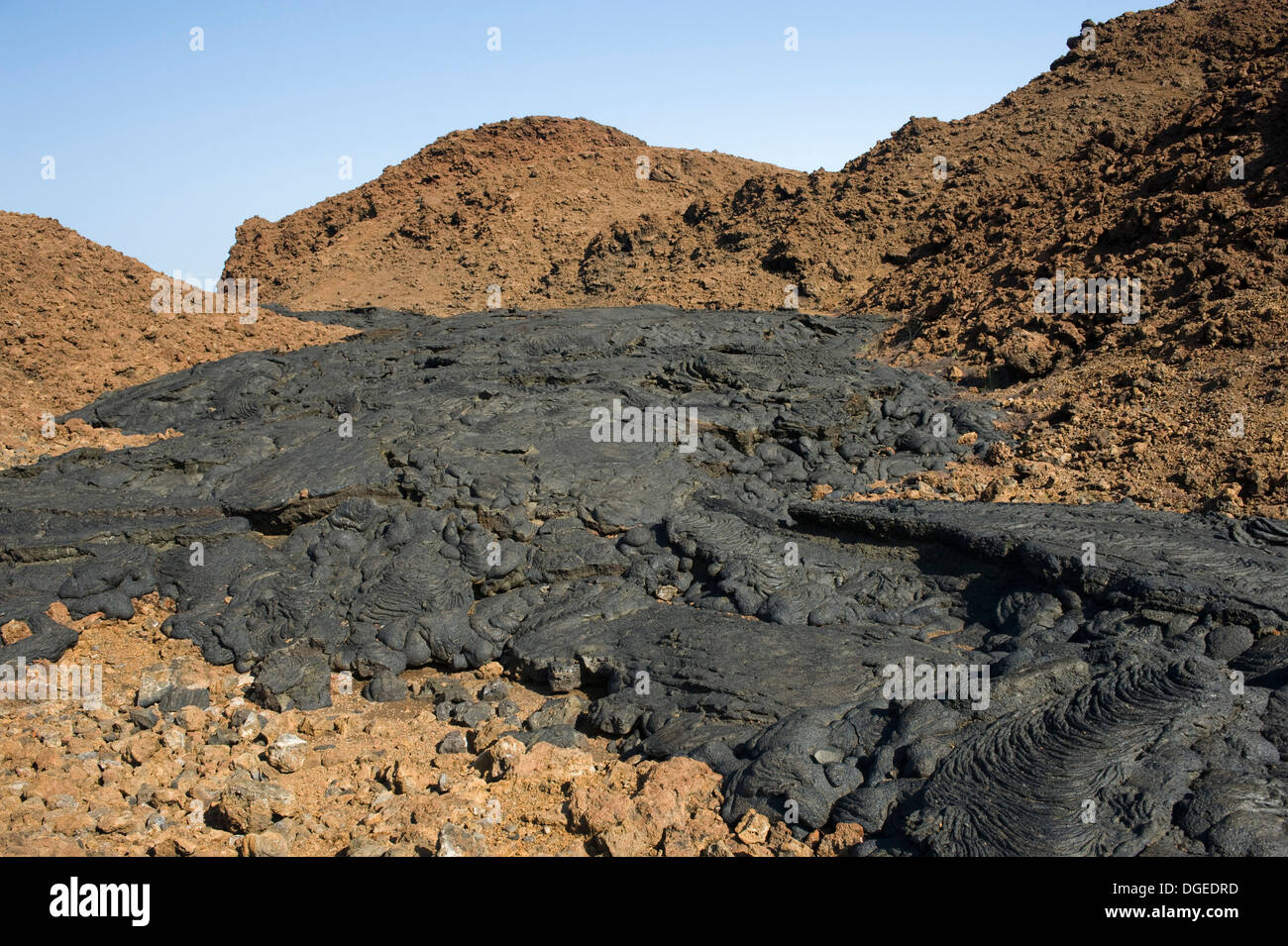 Lava flow dry volcanic ash Galapagos - Stock Image