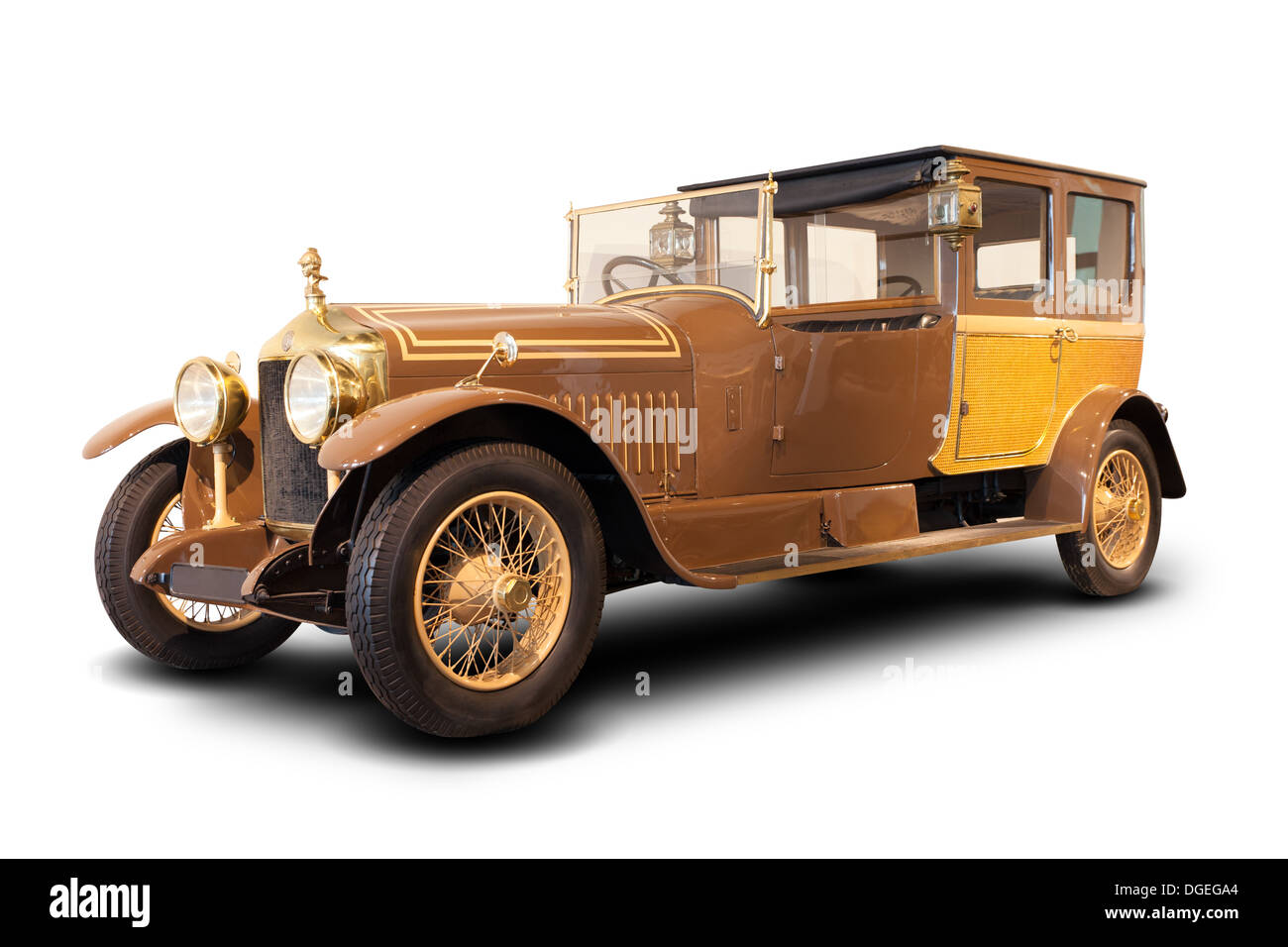Old Classic car, Minerva (Belgium) from 1920s isolated - Stock Image