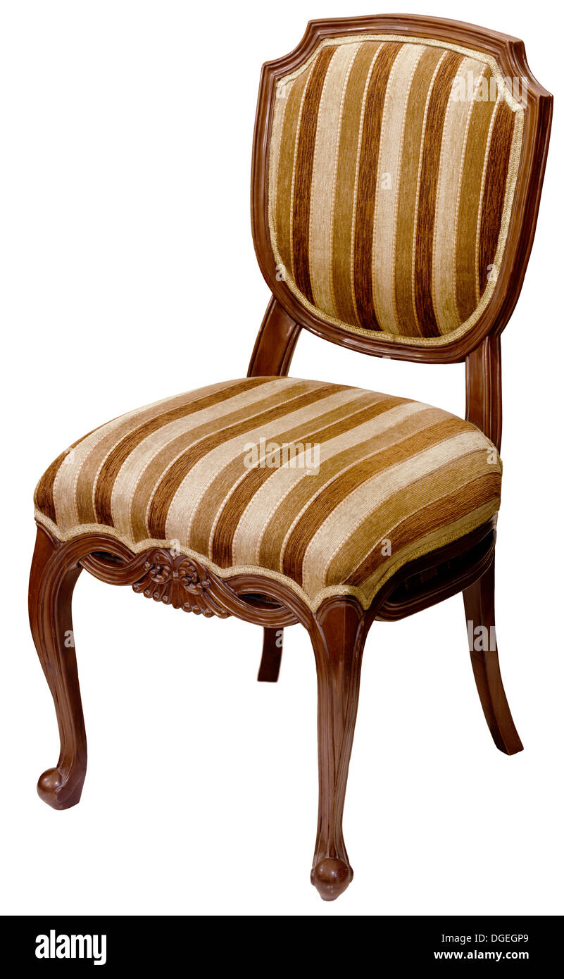 Old Striped Wooden Chair Isolated On White Background   Stock Image