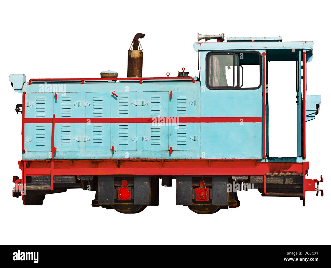 Vintage locomotive for a narrow-gauge railway isolated on white background - Stock Image