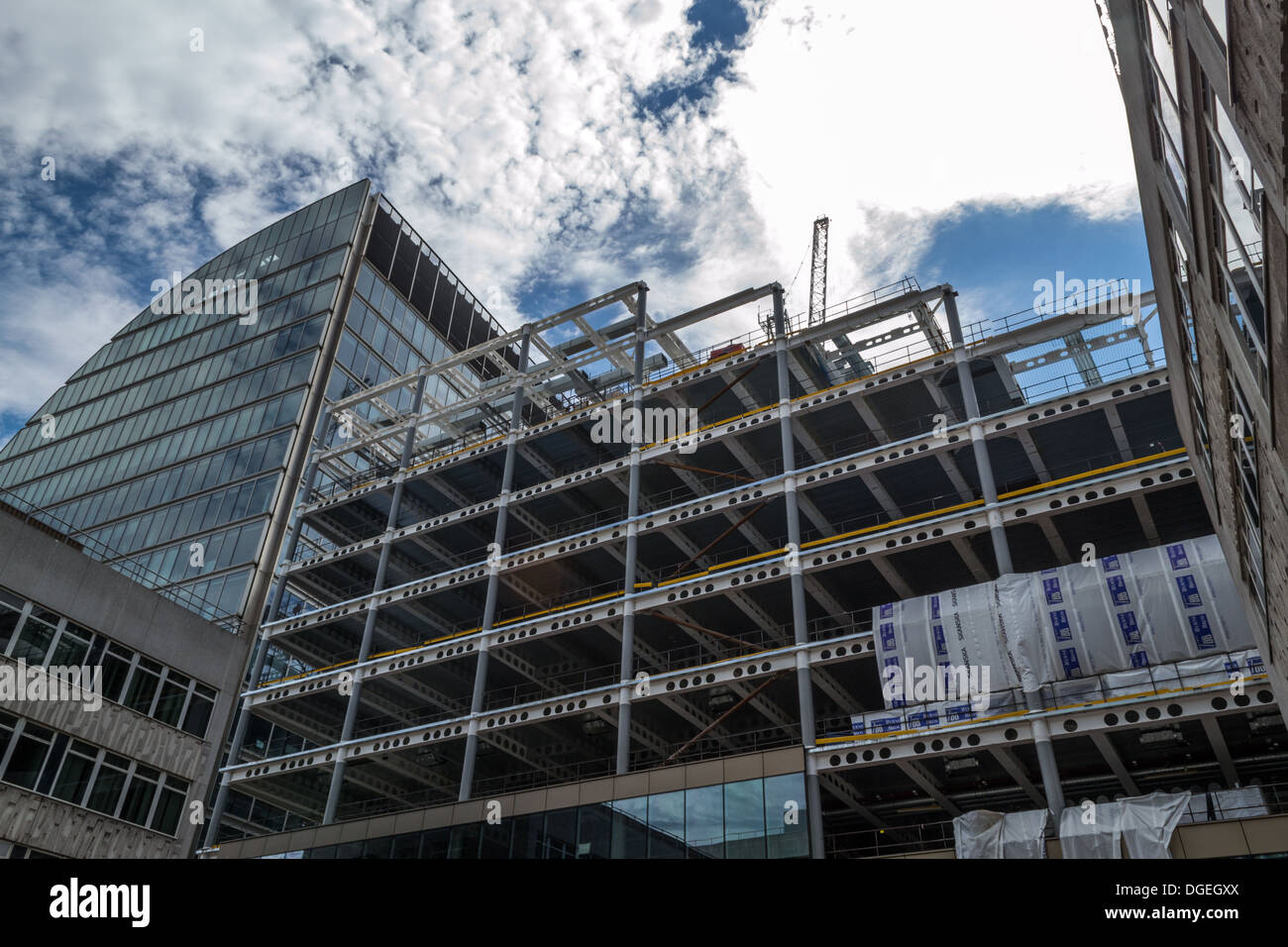 Moorgate Exchange during construction showing the structural steelwork - Stock Image