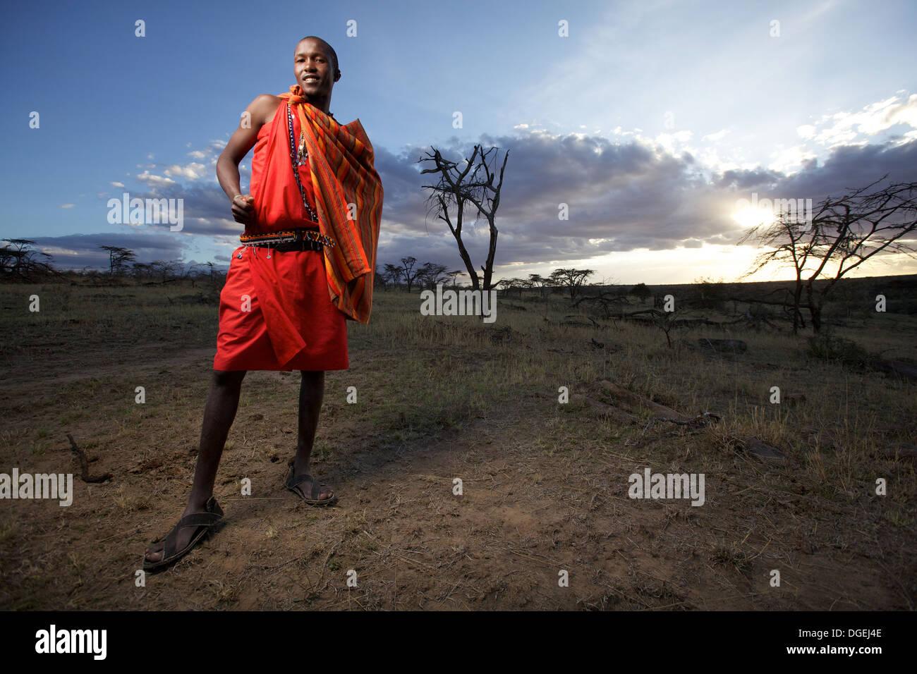 Maasai man portrait, Mara region, Kenya - Stock Image