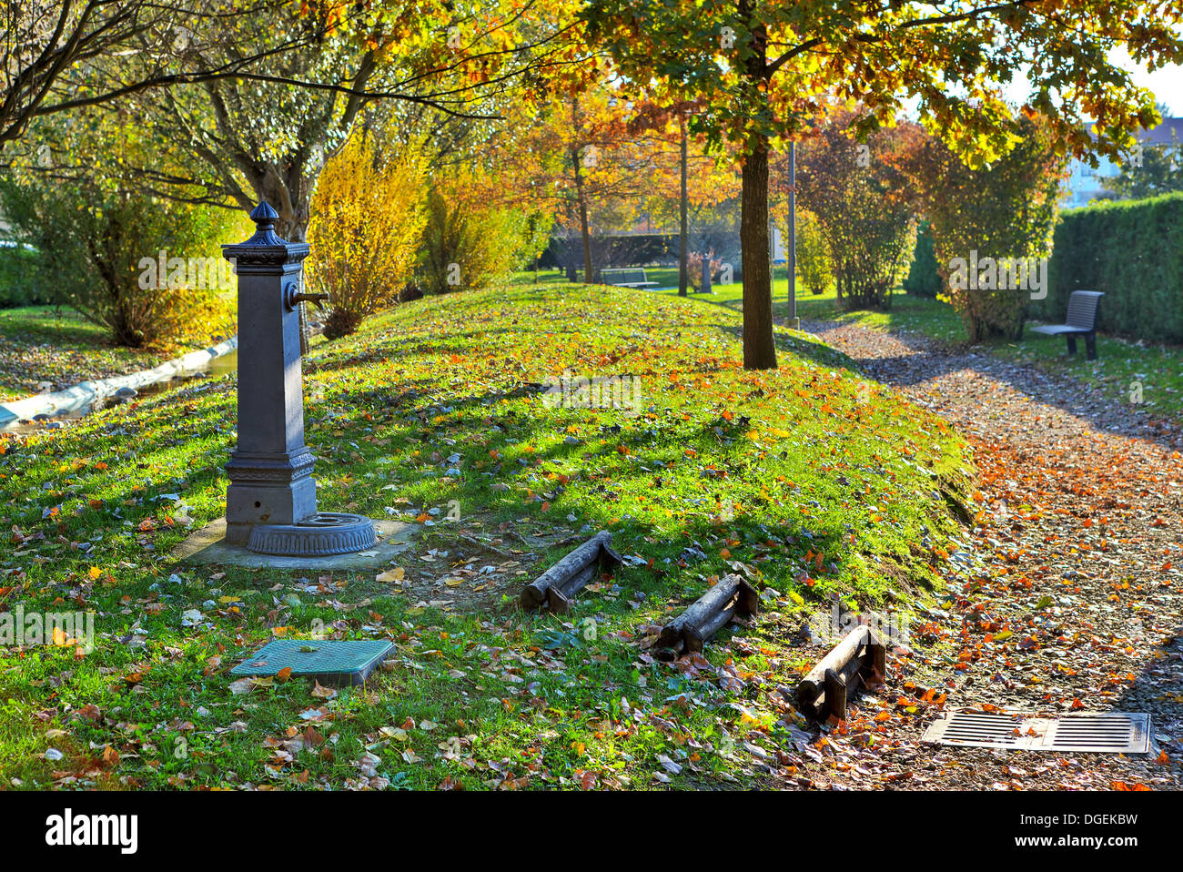 Metal water pump on the grass in small city park in autumn. - Stock Image