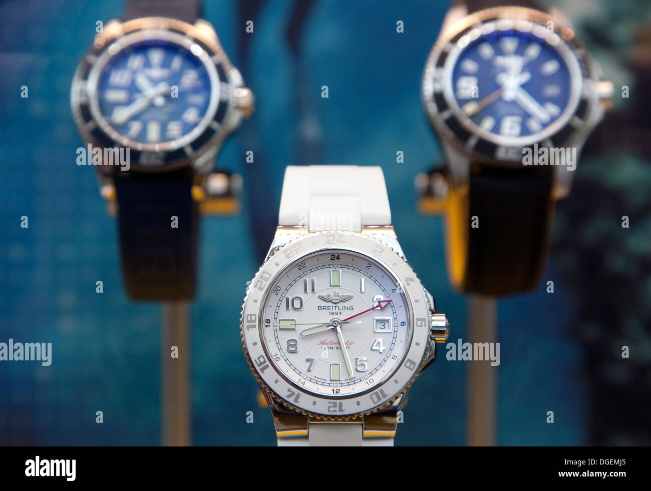 Breitling watches on display in London shop window - Stock Image