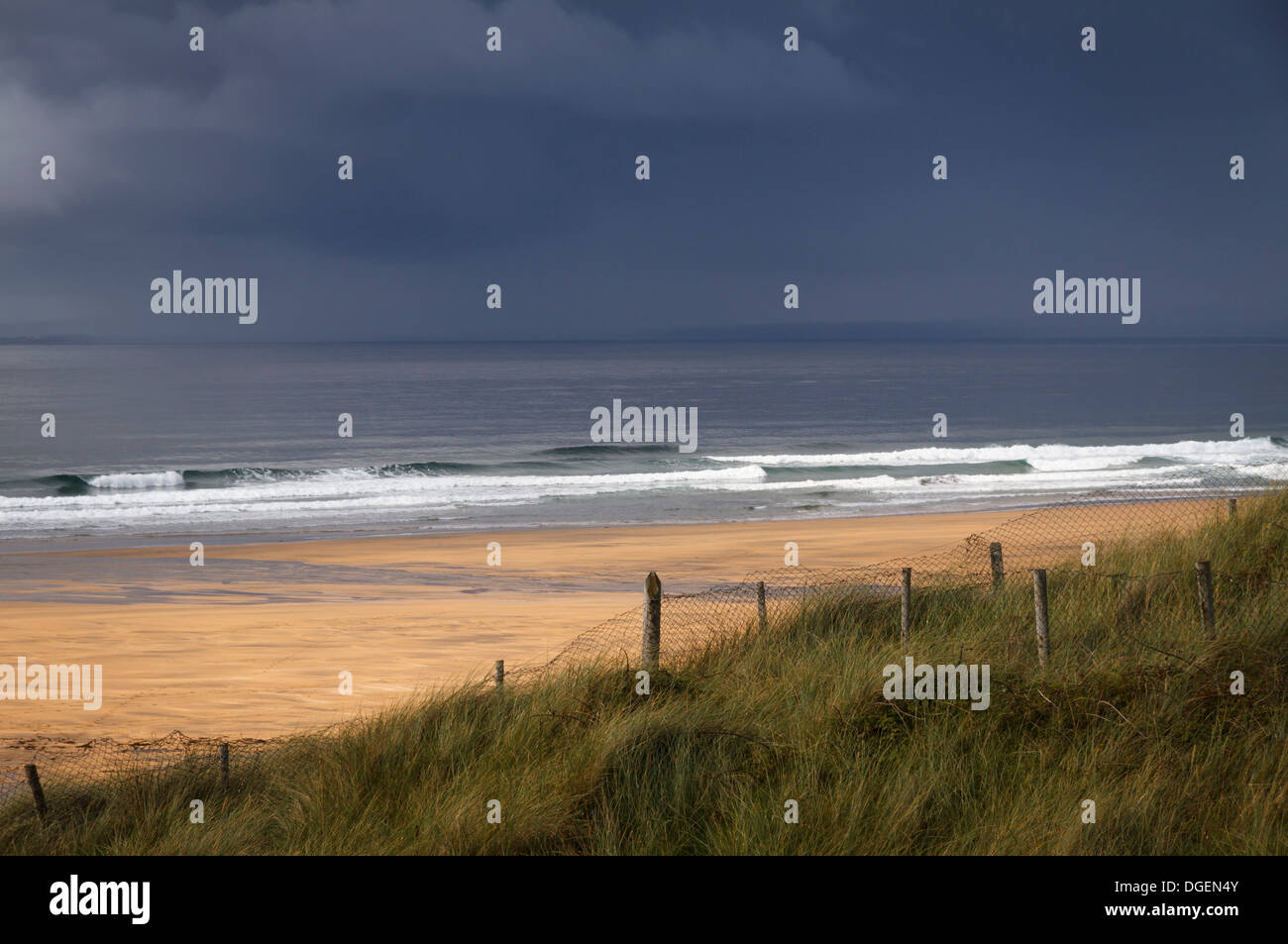 An Atlantic ocean storm approaches the west coast of Ireland at Fanore Beach, County Clare - Stock Image
